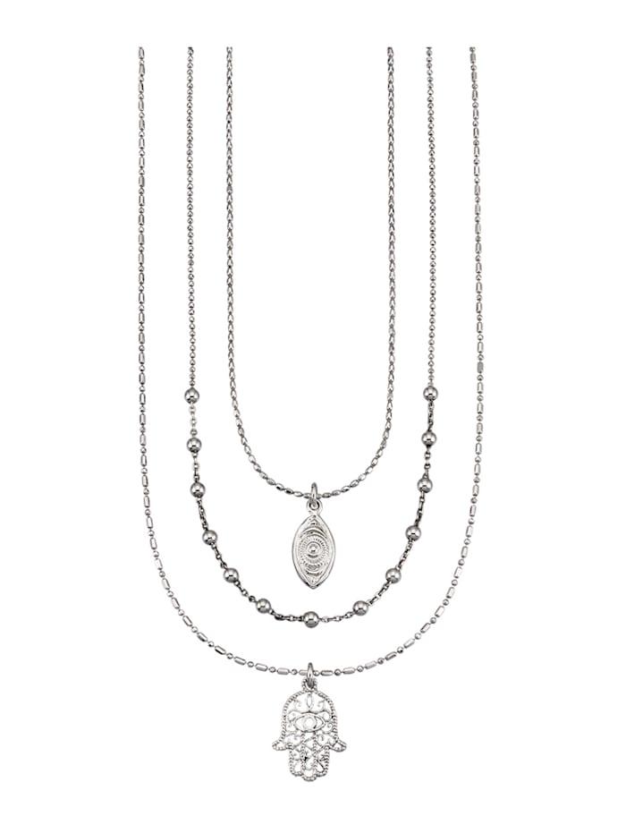 3rhg. Halsketten-Set in Silber 925, Silberfarben