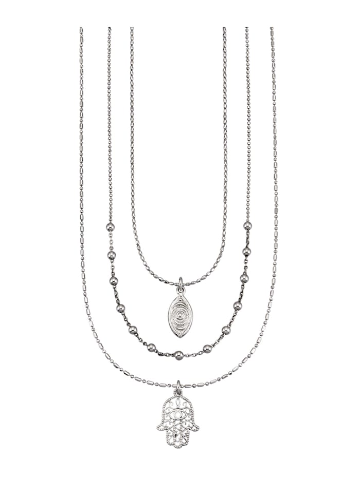 KLiNGEL 3rhg. Halsketten-Set in Silber 925, Silberfarben