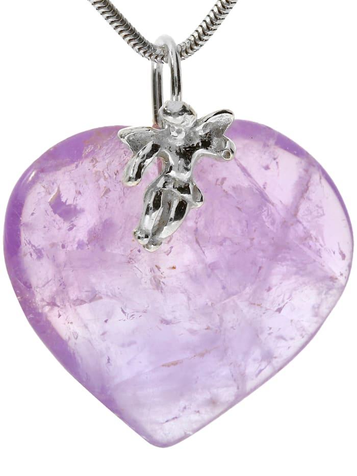 1001 Diamonds Damen Schmuck Edelstein Amethyst Anhänger 925 Silber violett Herz, violett