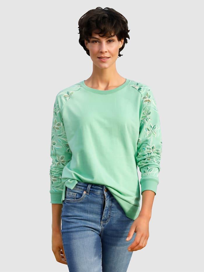 Dress In Sweatshirt met gedessineerde raglanmouwen, Lindegroen