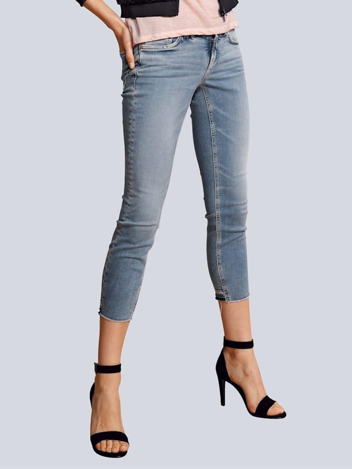 CAMBIO Jeans mit Fransenkante, Blue stone