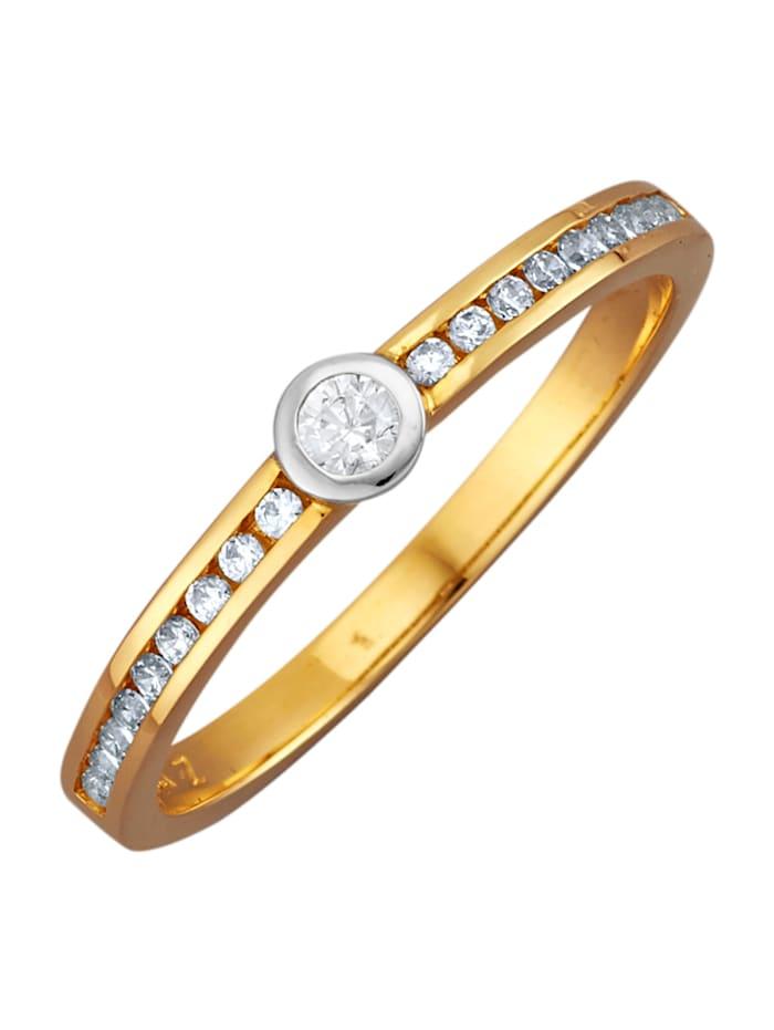 Diemer Diamant Damesring van 14 kt. wit- en geelgoud, Wit