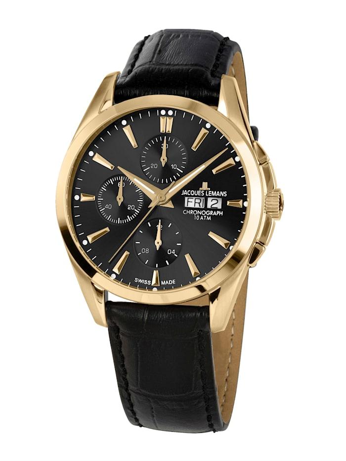 Jacques Lemans Herren-Uhr-Automatik-Chronograph Serie: Derby Automatic, Kollektion: Classic: 1- 1925D, Schwarz