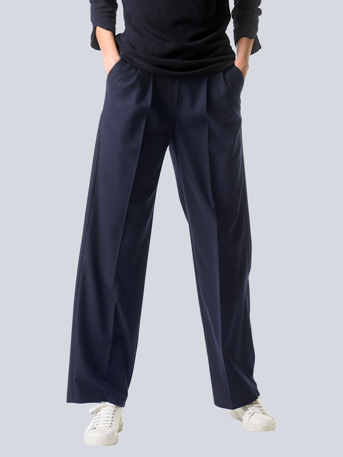 Alba Moda Pantalon en statures normales et petites statures, Marine