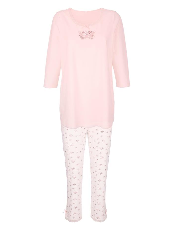 Schlafanzug mit verspielter Stickerei