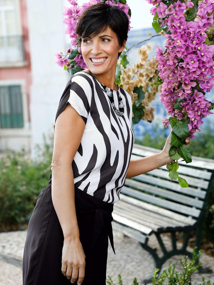 Paola Shirt met print voor, Zwart/Wit