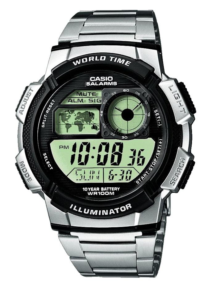 Casio Digitaluhr-Chronograph AE-1000W-2AVEF, Silberfarben