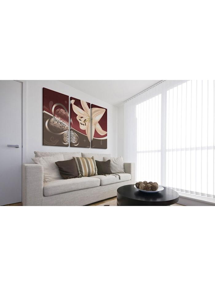 Wandbild Abstrakte Komposition mit Lilie - Triptychon