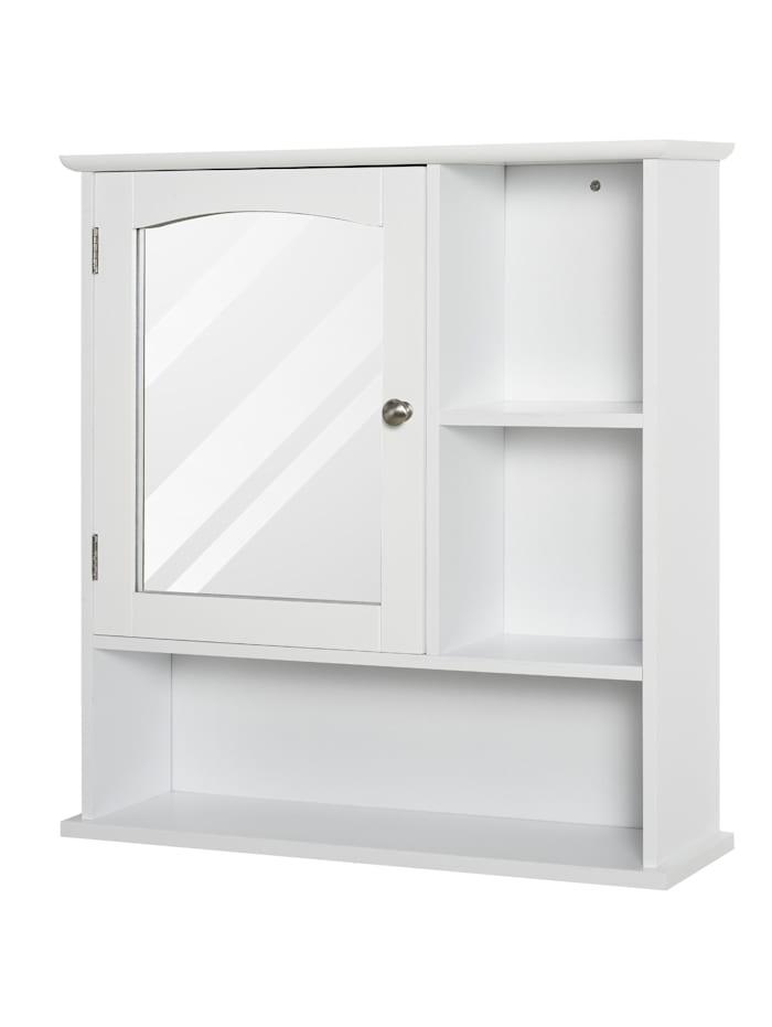 HOMCOM Badezimmerschrank mit Spiegeltür, weiß
