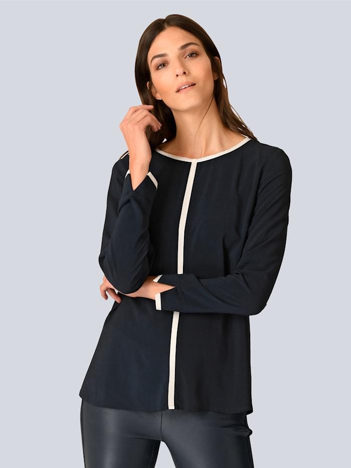 Alba Moda Bluse mit kontrastfarbenem Piping, Marineblau