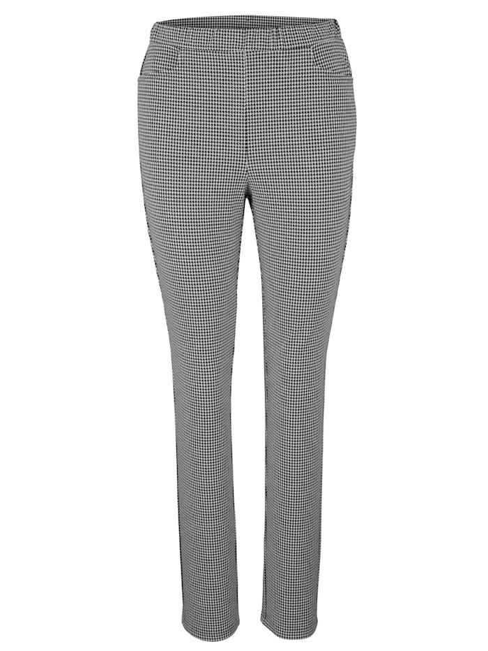 Kalhoty s 2-barevným pepita vzorem