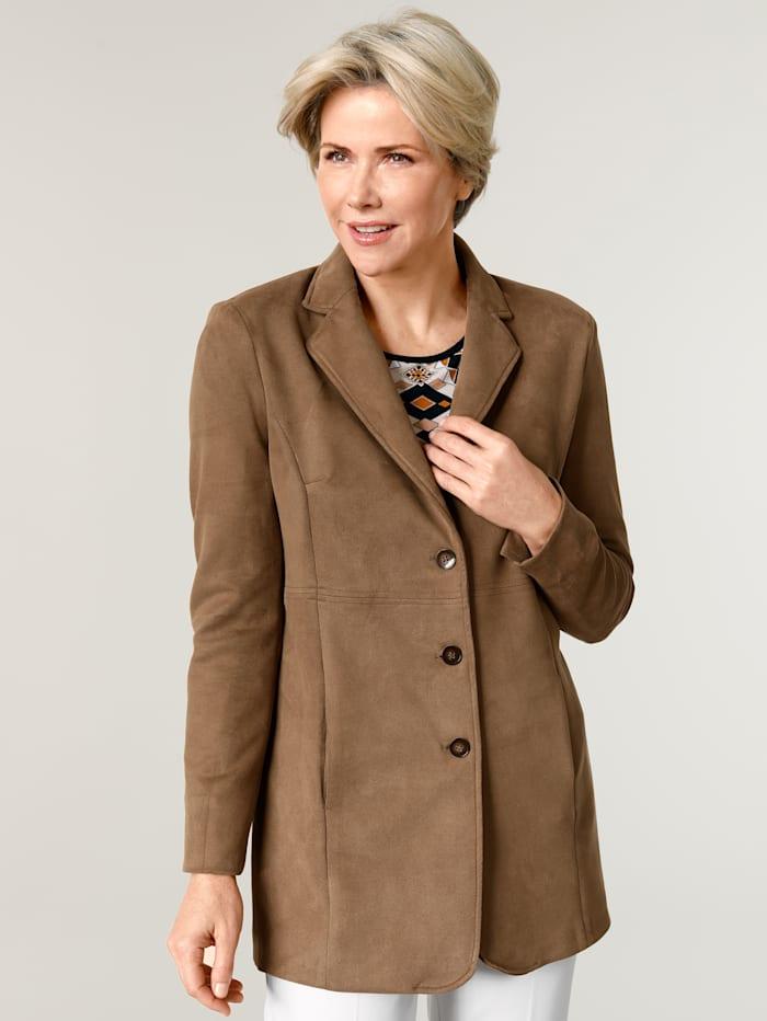 MONA Robe manteau van zacht velours, Cognac