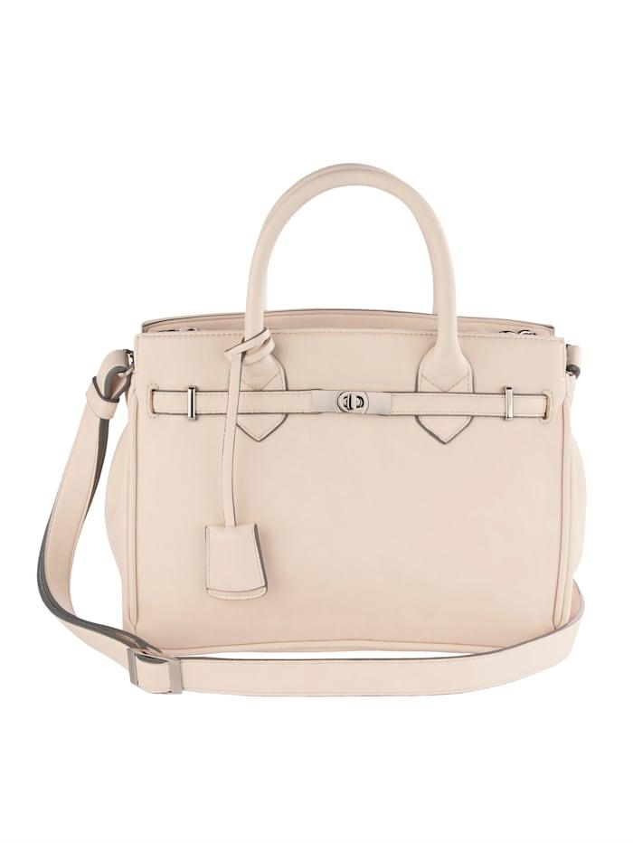 Picard Handväska med dekorband och vridlås, crèmefärgad