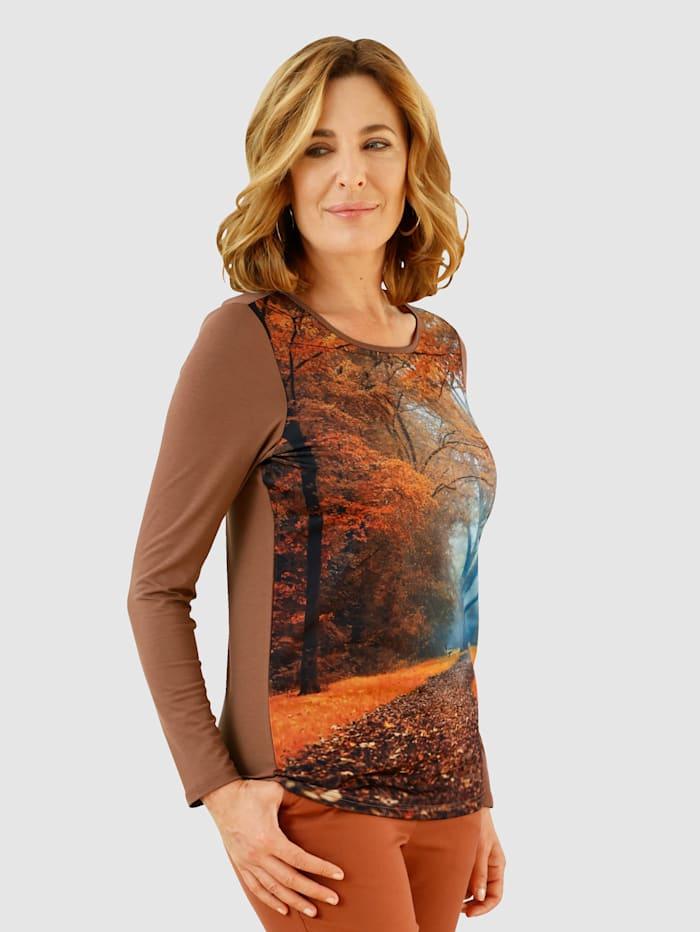Paola T-shirt à motif automnal devant, Noisette