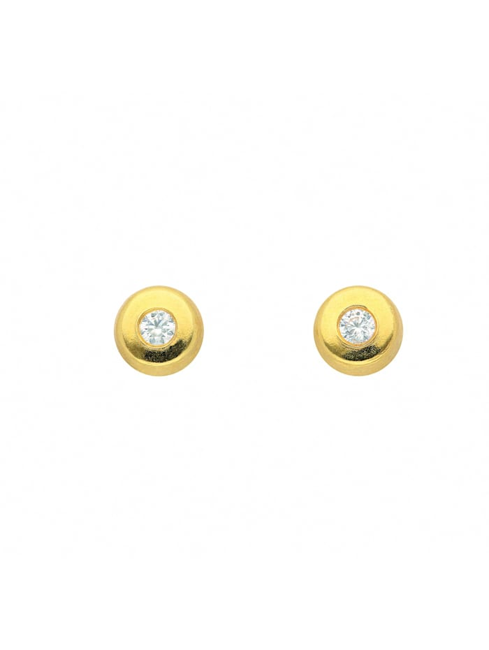 1001 Diamonds Damen Goldschmuck 333 Gold Ohrringe / Ohrstecker mit Zirkonia Ø 4,8 mm, gold