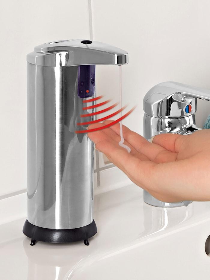 MAXXMEE Hygiene-Seifenspender mit Infrarot-Sensor, Silberfarben/Schwarz