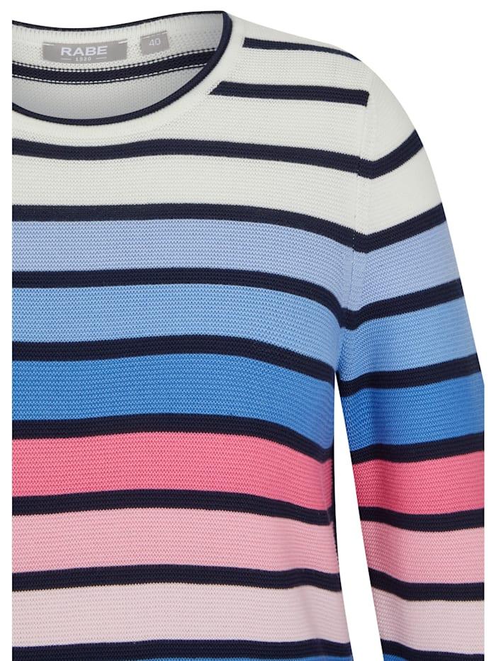 Pullover mit geringeltem Allover-Muster und langen Ärmeln