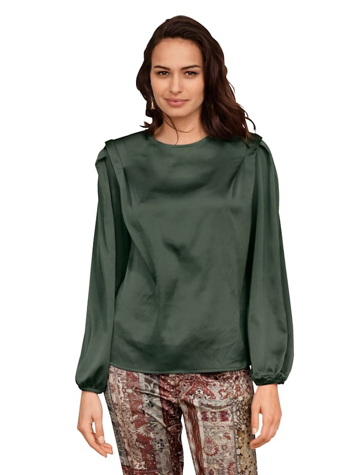 AMY VERMONT Bluse aus weich fließender Ware, Oliv