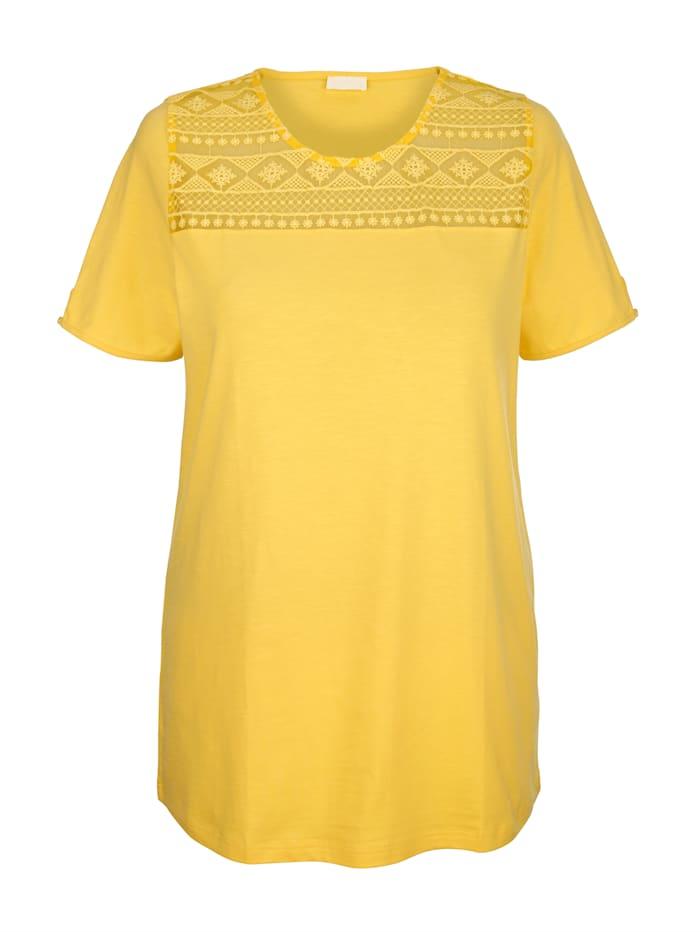 MIAMODA T-shirt long avec dentelle, Jaune