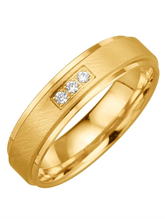 Harmony Trauring mit 3 Diamanten, Gelb