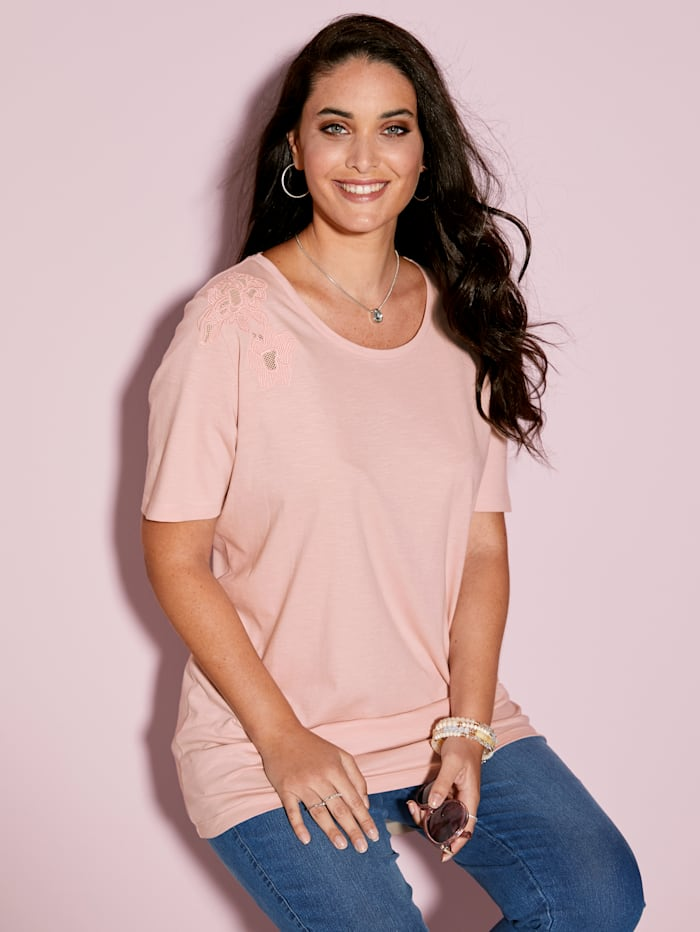 MIAMODA Shirt met borduursel, Roze