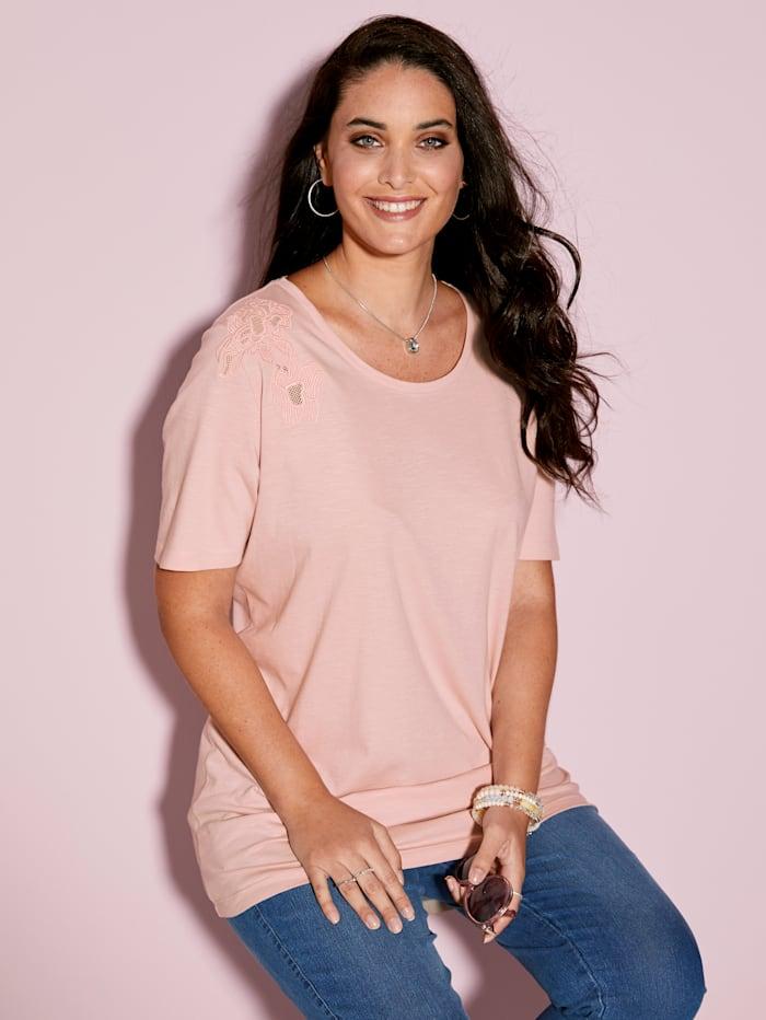 MIAMODA Tričko s dekorativní výšivkou, Růžová