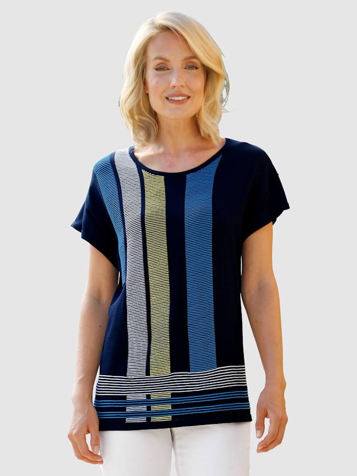 Paola Pullover mt abgesteppten Streifendessin vorne, Marineblau/Weiß/Blau