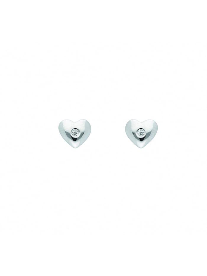 1001 Diamonds Damen Silberschmuck 925 Silber Ohrringe / Ohrstecker Herz mit Zirkonia, silber