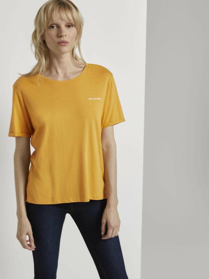 Tom Tailor mine to five Lockeres T-Shirt mit kleiner Stickerei, Golden Corn