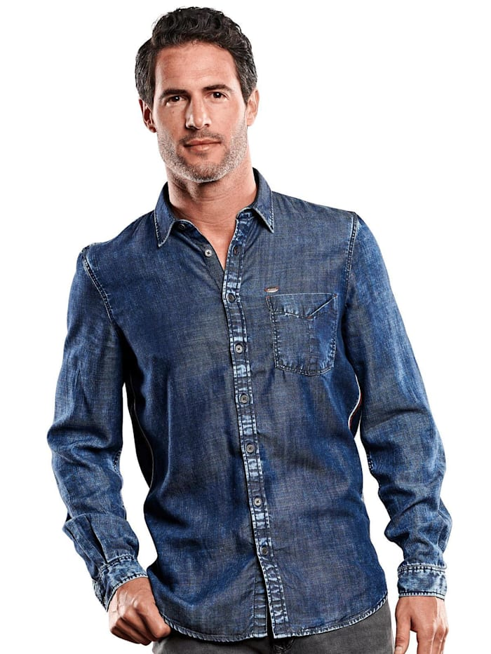 Engbers Hemd Jeans-Optik, Indigoblau