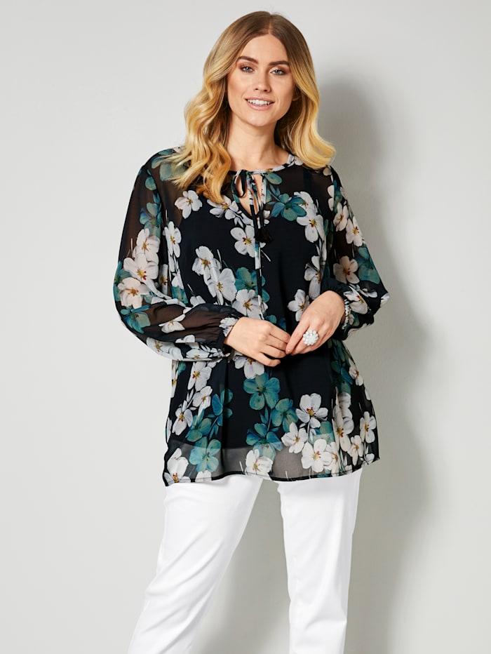 Sara Lindholm Blouse met bloemenprint, Blauw/Wit