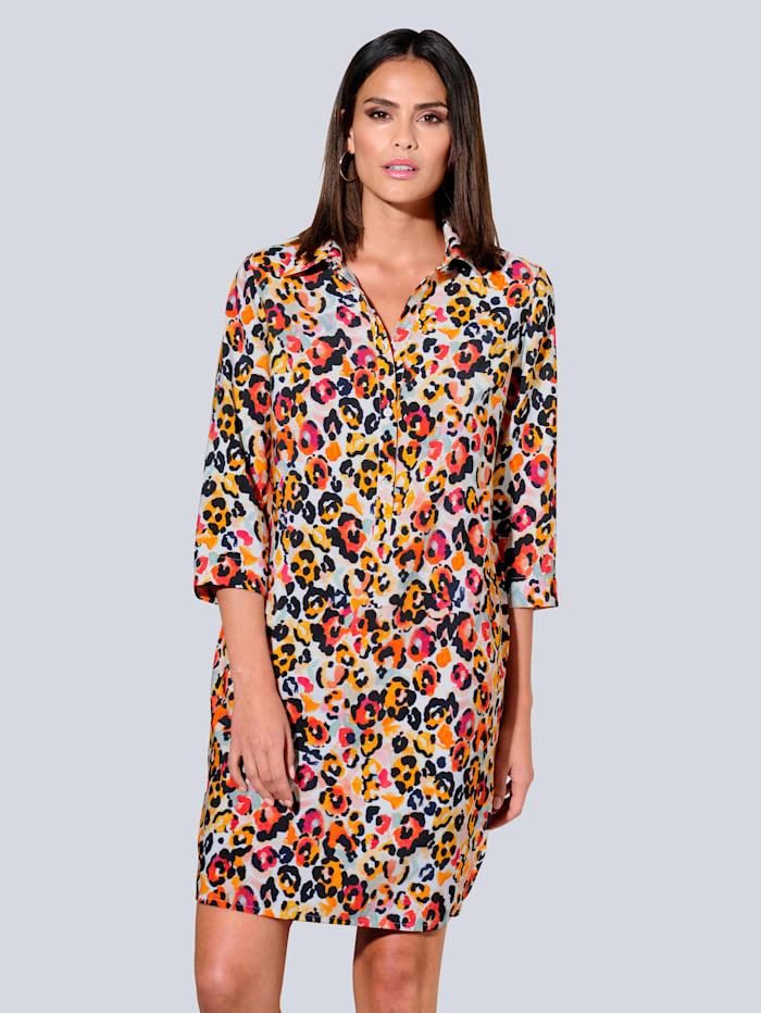 Alba Moda Kleid allover im farbenfrohem Print, Off-white/Orange/Rot