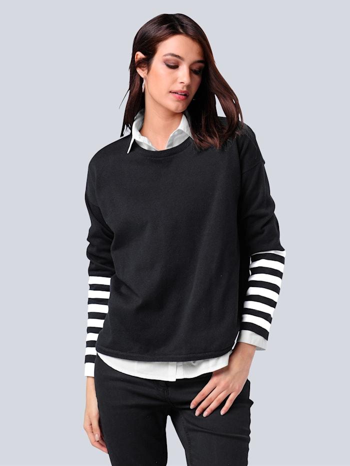 Alba Moda Pullover aus reiner Baumwolle, Schwarz/Off-white
