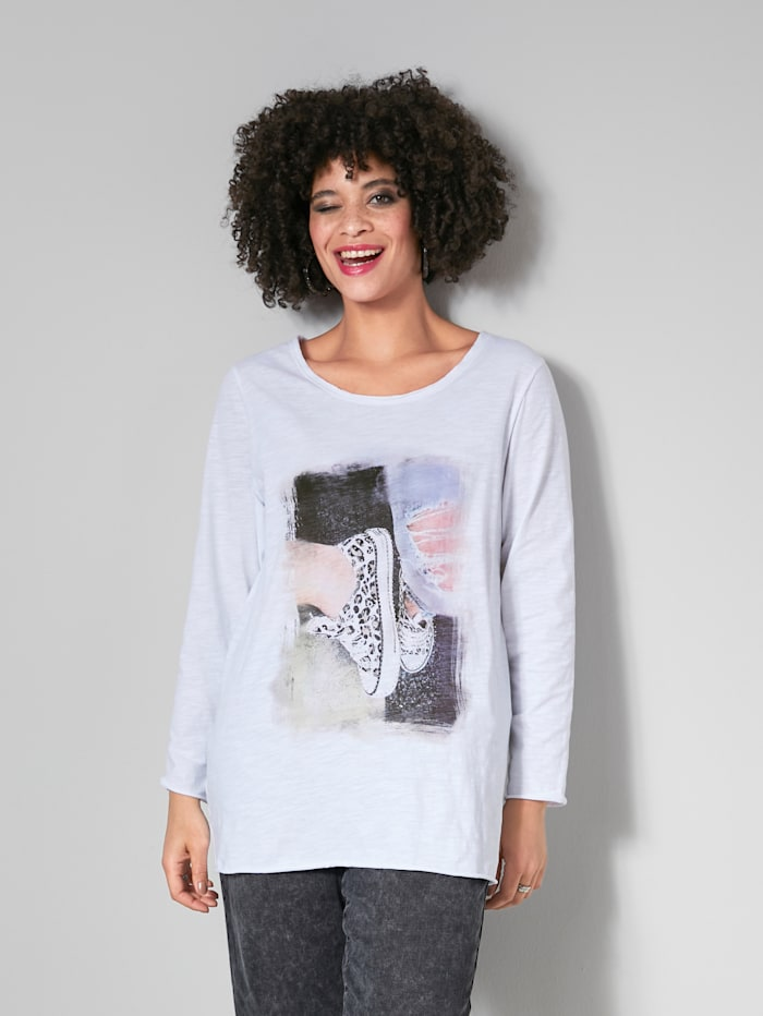 Angel of Style Shirt met modieuze print, Wit