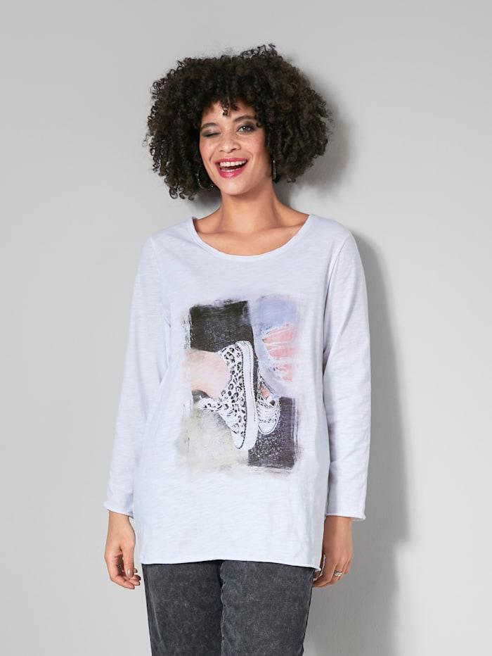 Angel of Style Shirt mit modischem Print, Weiß