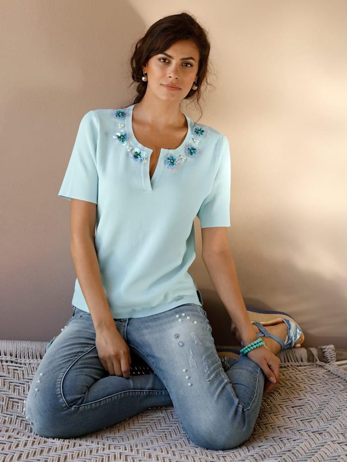 AMY VERMONT Jean à détails fantaisie, Light blue