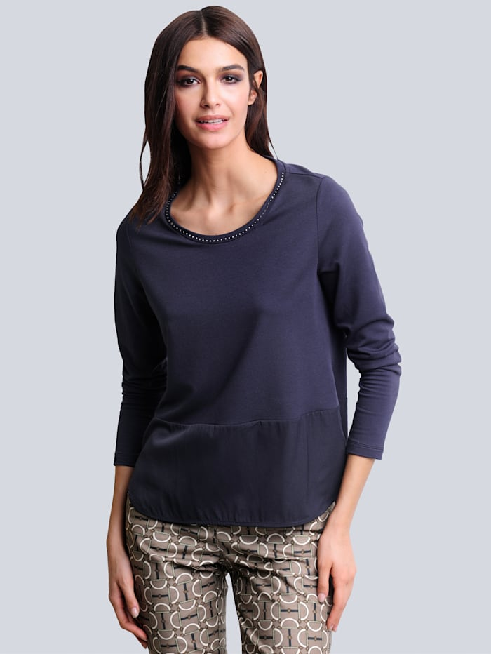 Alba Moda Shirt in schönem Materialmix, Anthrazit