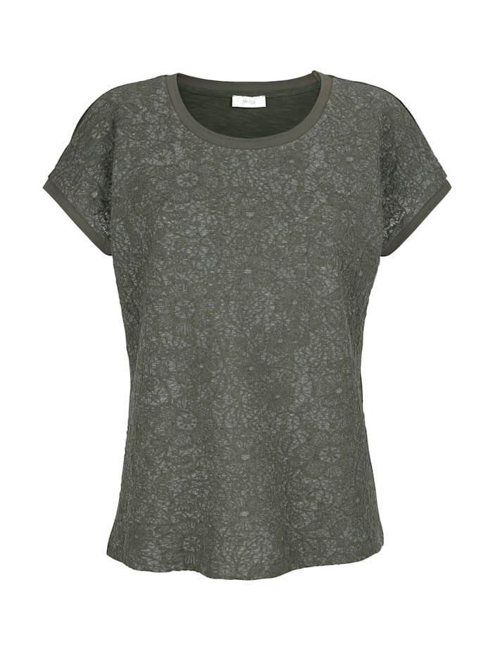 Shirt im Material-Mix