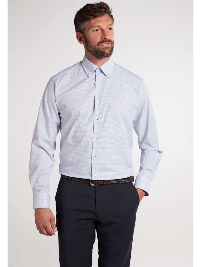 Eterna Eterna Langarm Hemd COMFORT FIT, blau/braun