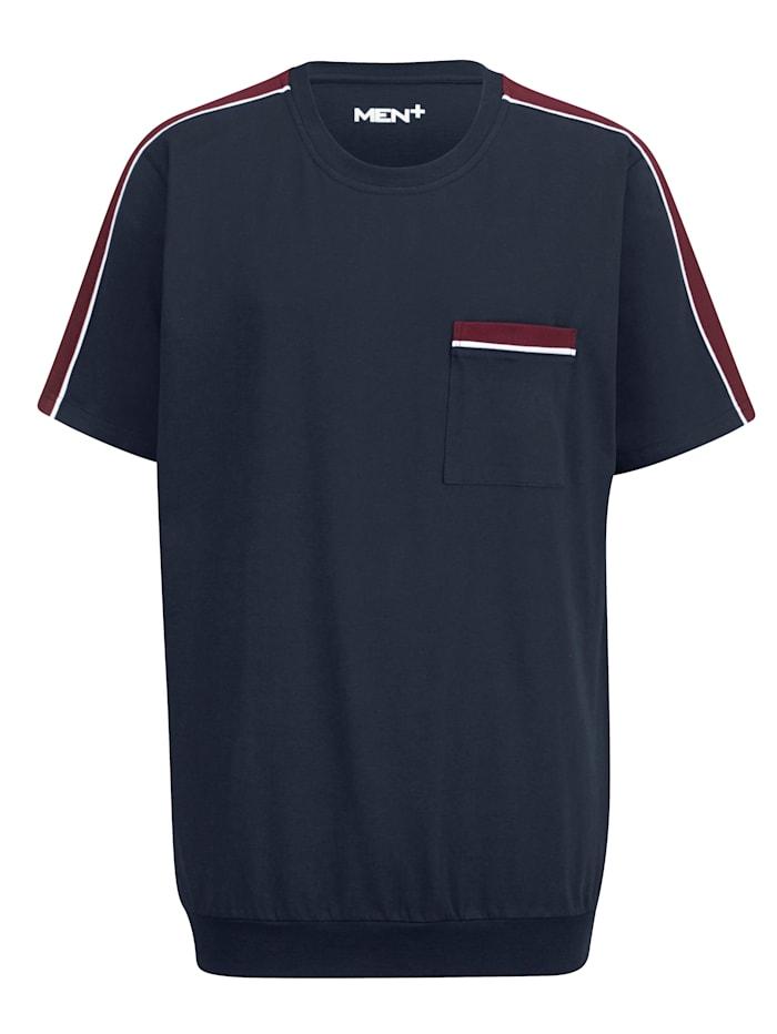 Men Plus T-Shirt aus reiner Baumwolle, Marineblau/Bordeaux