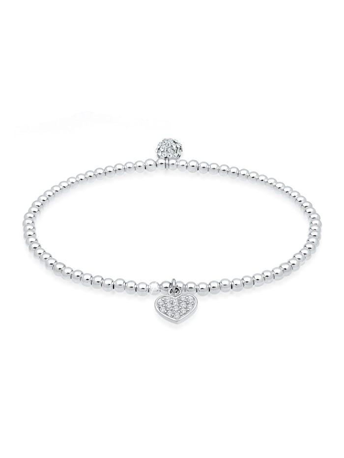 Elli Armband Herz Symbol Kristalle 925 Silber, Weiß