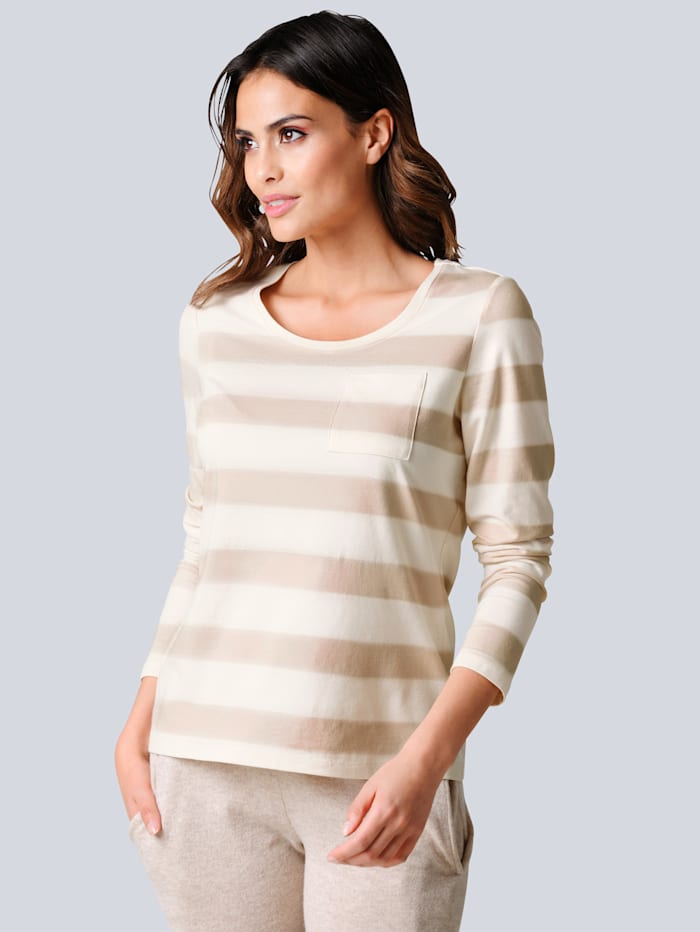 Alba Moda Shirt allover im sportiven Streifendessin, Beige/Off-white