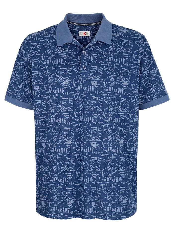 Roger Kent Poloshirt mit Allover-Druckmuster, Blau