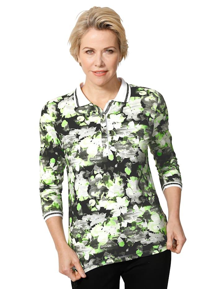 MONA Polo à superbe imprimé floral, Vert acide/Noir/Blanc