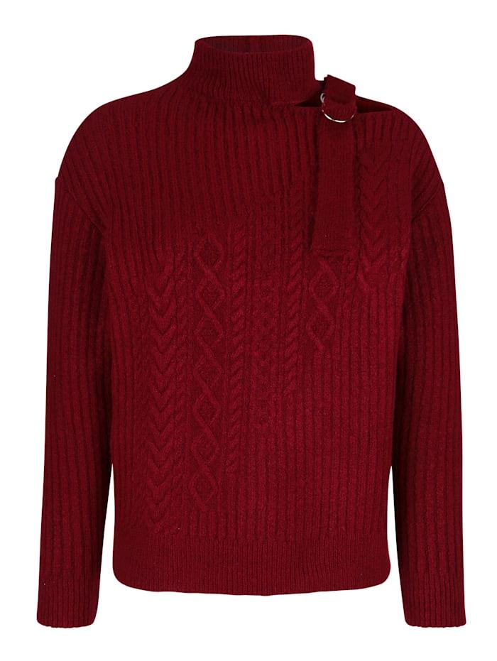 AMY VERMONT Pullover mit Schnalle am Ausschnitt, Rot