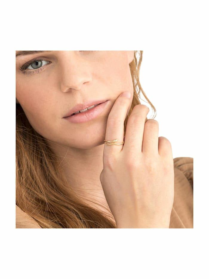 Ring für Damen, Sterling Silber 925 vergoldet, Schlange