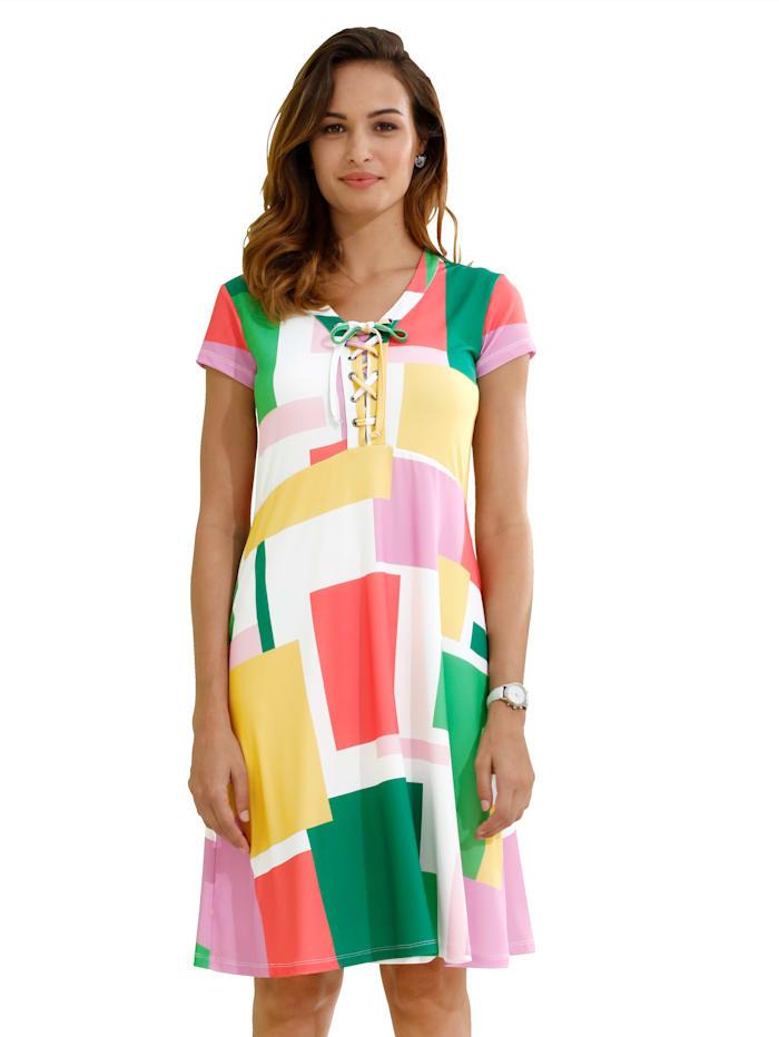 Jerseykleid mit Schnürung am Ausschnitt