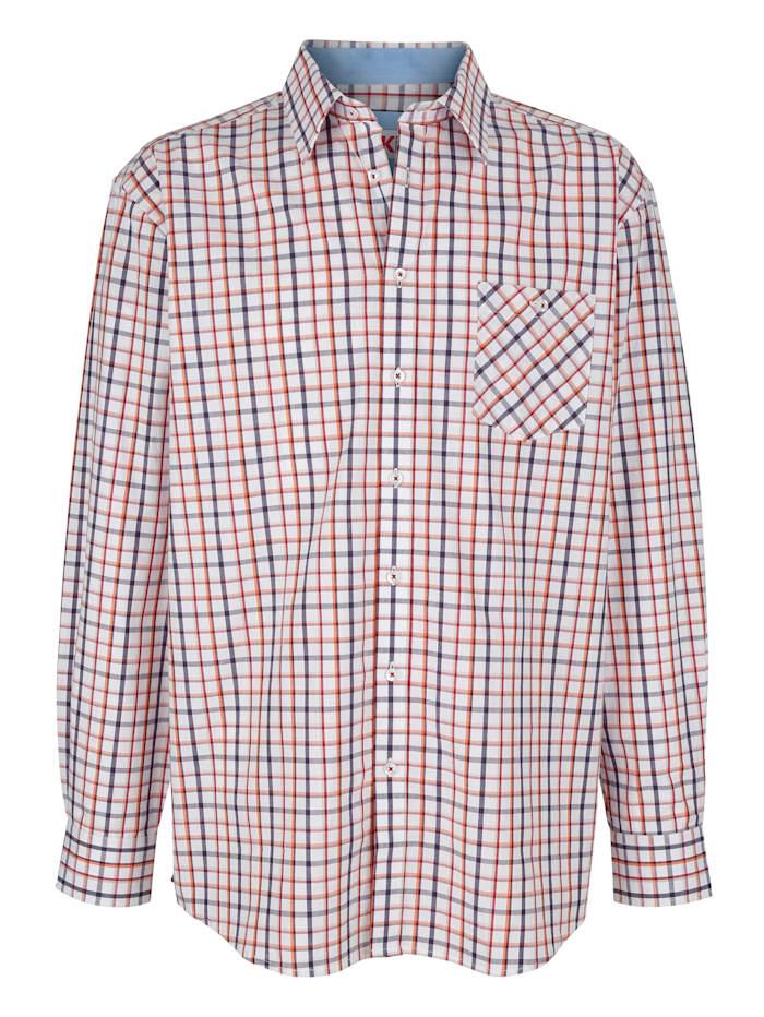 Roger Kent Overhemd met ingeweven ruitpatroon, Wit/Bruin/Oranje