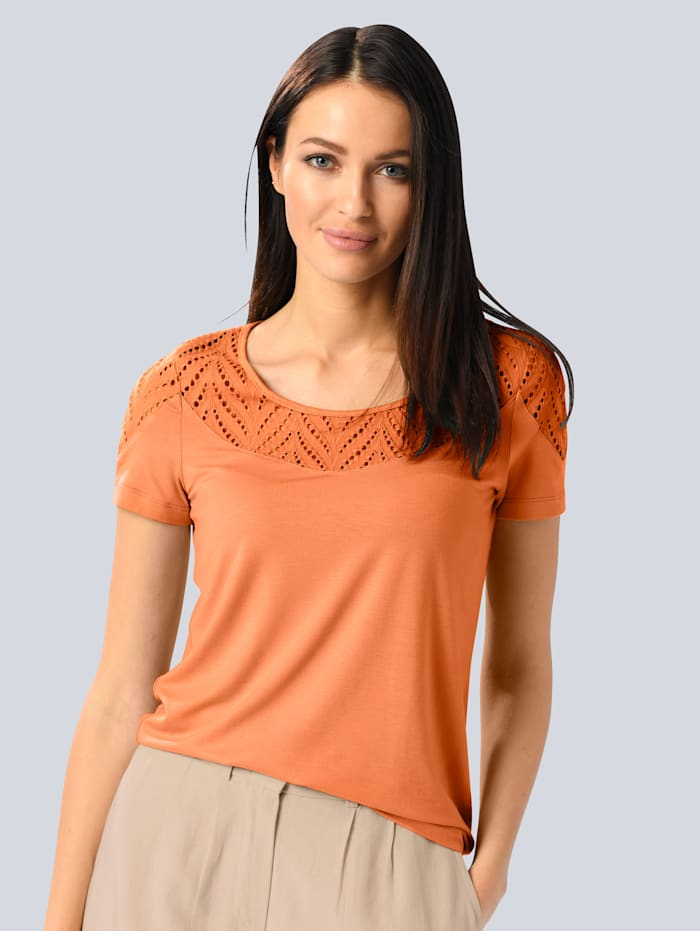 Alba Moda Shirt mit Lochstickerei, Apricot