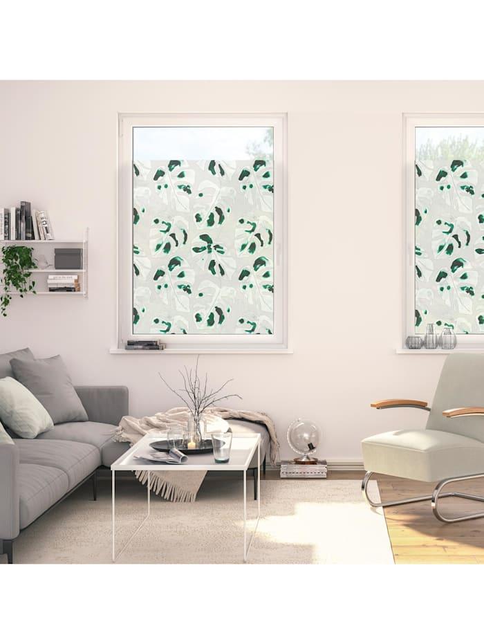 Fensterfolie selbstklebend, Sichtschutz, Monstera - Grün